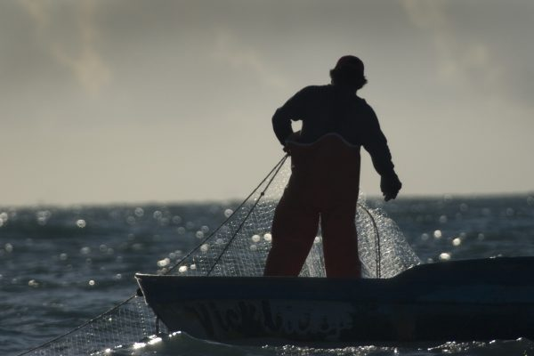 Fisherman with a gillnet. Photo by Chris Johnson.