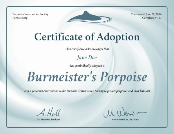 Burmeister's Porpoise Adoption Certificate Preview