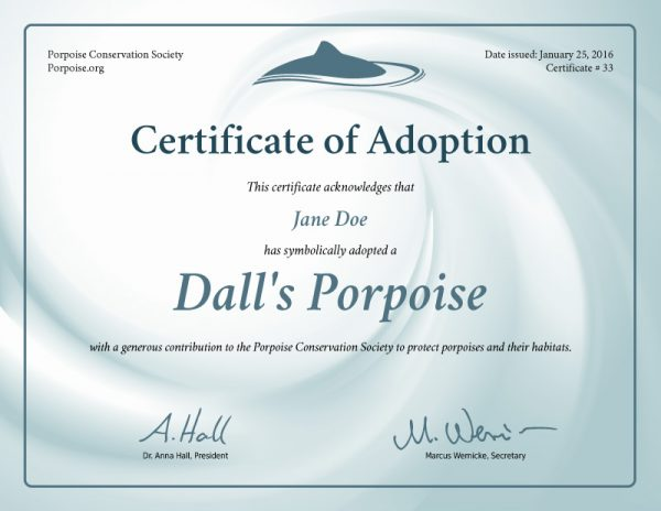 Dall's Porpoise Adoption Certificate Preview