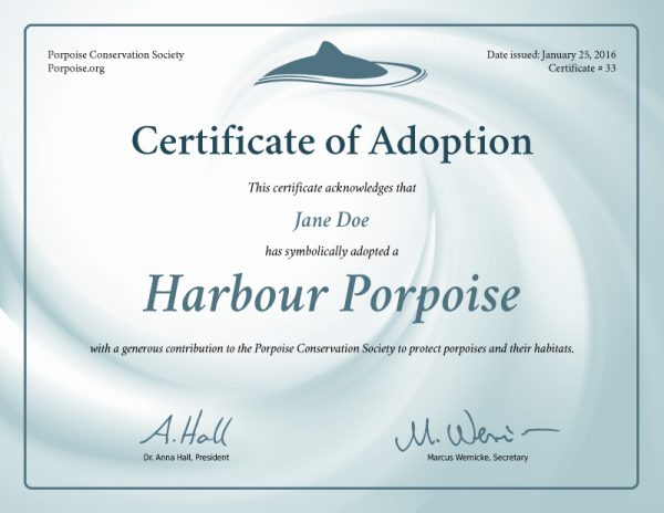 Harbour Porpoise Adoption Certificate Preview